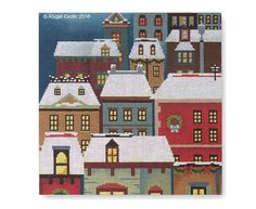 Christmas Eve Town Pillow - Abigail Cecile Needlepoint