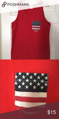 American Flag Pocket Tank American flag pocket tank! USA, perfect for the Fourth of July, or any other United States holiday. Size says large but fits extra large, so that is why I have it listed as XL.  Brand is NOT Brandy Melville, it is just listed for exposure :) Brandy Melville Tops Tank Tops
