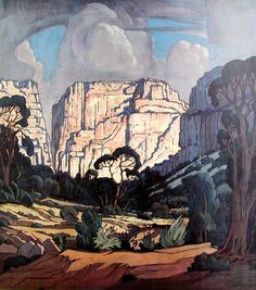 "hajandrade: ""Jacobus Hendrik Pierneef (South African, 1886 - title and date not given "" Klimt, Landscape Art, Landscape Paintings, Illustrations, Illustration Art, South African Artists, Africa Art, Artist Art, Art Oil"