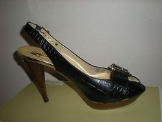 WOMENS MICHAEL KORS BLACK LEATHER HEELS SZ 10 M GOLD ACCENTS GATOR SNAKE 4 1/2  - BUY NOW ONLY 19.99