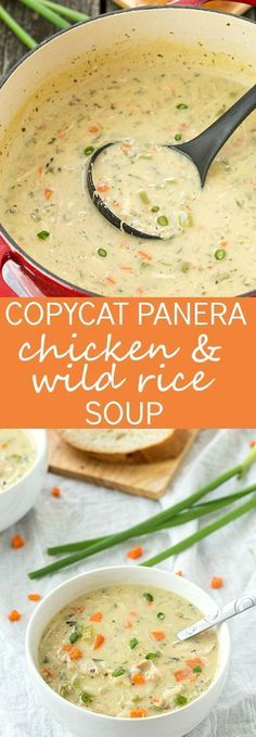 Copycat Panera Chicken and Wild Rice Soup Recipe - The best soup ever! CLICK Image for full details Copycat Panera Chicken and Wild Rice Soup Recipe - The best soup ever! It& creamy, flavorful, and filli. Crock Pot Recipes, New Recipes, Dinner Recipes, Healthy Recipes, Recipies, Wild Rice Recipes, Crockpot Chicken Soup Recipes, Easy Crockpot Soup, Steak Recipes