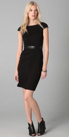 Club Monaco, Adalyn Dress: Leather trim on a classic cut.  So sexy.