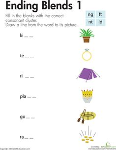 First Grade Phonics Spelling Worksheets: Consonant Blends: Endings