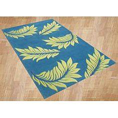 Handmade Mediterranean Blue Flower Wool Rug (8' x 10')