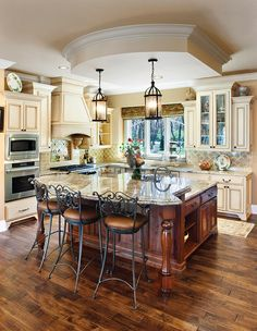 black island cream cabinets | Cream Colored Kitchen Cabinets Dark Island