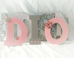 S Nursery Letters Custom Wall Gray And Pink Hanging For Room Decor Grey
