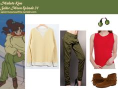 *Requested by: idkeboni* Celli Girl elbow patch pullover in Yellow Tian Mu straight pants in Army Green Minnetonka back zipper boot in Brown Suede (you can find this anywhere that sells Minnetonka shoes) American Apparel baby rib sleeveless crew neck...