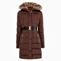 Winter Coat Mango Belted Down Feather Coat, Brown Fashion For Linda