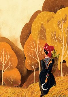 Lately this year, we have contributed various illustrations for an Poem - Art Book, called 5 Seasons. Each painting based on famous poems in our country, Vietnam. There were about 50 Vietnamese artists have joined in together. Kaa illustration also won… Art And Illustration, People Illustration, Illustrations And Posters, Asian Art, Book Art, Art Drawings, Art Gallery, Artwork, Inspiration