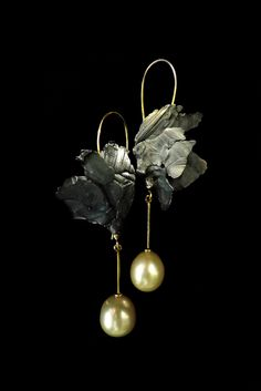 Earrings by Bon Ton Joyaux, oxidized sterling silver, 18 k yellow gold, south sea pearls.