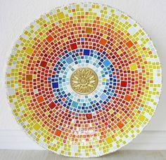 Vintage Deko - Mosaikschale 45 cm Bambusholz Mandala-Stil - ein Designerstück von Zuckerholz bei DaWanda