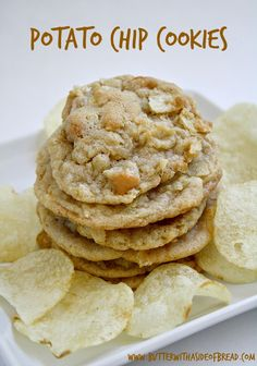 Potato Chip Cookies~ LOVE this sweet & salty combination! A from the ladies at Butter With A Side of Bread Potato Chip Cookies~ LOVE this sweet & salty combination! A from the ladies at Butter With A Side of Bread Potato Chip Cookies, Potato Chips, Cookies Et Biscuits, Köstliche Desserts, Delicious Desserts, Dessert Recipes, Yummy Food, Baking Recipes, Cookie Recipes