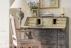 love this distressed writing desk and accessories | via minniepeters.com/blog