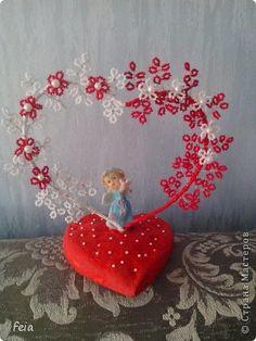 Мастер-класс Поделка изделие Свадьба Бисероплетение Сердце из бисера + МК Бисер фото 1