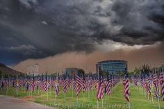 Haboob & Monsoon heading towards Tempe Town Lake 9/11 Flag Field