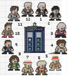 12 Doctors and the TARDIS - Doctor Who pattern by CraftiGoodnes