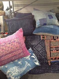 Pillow! I love them.  greige: interior design ideas and inspiration for the transitional home : Rose Bowl Flea Market...