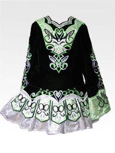 Traditional Irish dancing dress ~ hand-made by designer Heidi Bird. (Prices start at $1600)