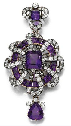 AMETHYST AND DIAMOND PENDANT, CIRCA 1880 The central step-cut amethyst within a surround of calibré-cut stones, interwoven with a ribbon of circular- and single-cut diamonds, to a similarly set surmount and drop.