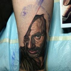 Can't wait to see the finished version of this Walking Dead's Rick Grimes tattoo by master Nikko Hurtado.