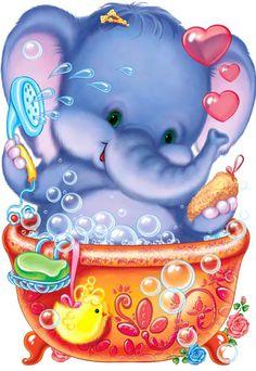 Rub a dub dub - Baby elephant in a tub! Cartoon Elephant, Elephant Love, Elephant Art, Elephant Nursery, Cute Images, Cute Pictures, Animal Drawings, Cute Drawings, Baby Elephants