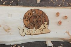 Wooden snail/Wood Puzzle with numbers/Toddler gifts/Toys for