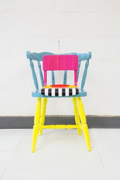 Upcycled chairs by artist/designer Yinka Ilori.