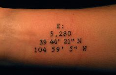 Coordinates tattoo....Ocracoke, Ellicott City, Baltimore, etc.