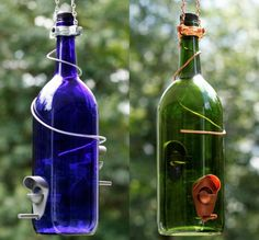 Glass Wine Bottle Bird Feeder - Bird Houses - Gift for Mom - Outdoor - Patio - Handmade Wine Bottle Decor - Gifts for Women - Spring Decor Glass Jars, Wine Glass, Large Wine Bottle, Unique Bird Feeders, Homemade Bird Feeders, Wine Decor, House Gifts, Garden Gifts, Gifts For Mom