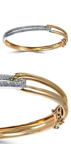 EFFY Duo Diamond, 14K White Gold and 14K Yellow Gold Loop Bracelet