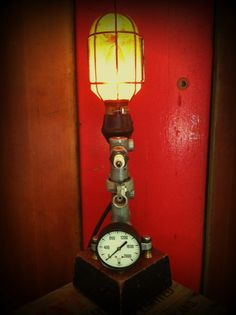 Reclaimed Lamp Upcycled Recycled Industrial by ModernArtifactDecor, $175.00