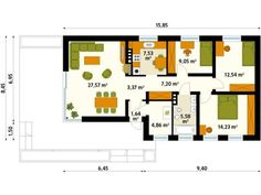 case cu costuri reduse Tree Bedroom, Bungalow, House Plans, Floor Plans, How To Plan, Architecture, Projects, Case, Design