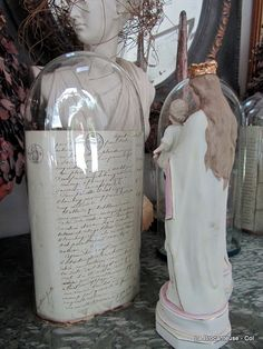 Antique French Document or Letter, under glass dome.