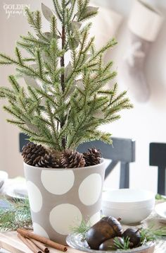 Miniature Evergreen Christmas Centerpiece - The Golden Sycamore