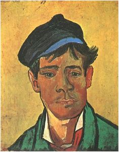 Young Man with a Cap by Vincent Van Gogh  Painting, Oil on Canvas  Arles: December, 1888 http://www.vangoghgallery.com/catalog/Painting/782/Young-Man-with-a-Cap.html