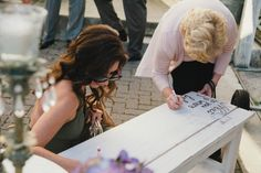 Such a fantastic guest book idea.a bench that everyone can sign to go in the couple's home! Guest Book Alternatives, Wedding Favors, Wedding Ideas, Purple Wedding, Big Day, Wedding Planning, How To Memorize Things, Bench, Romantic