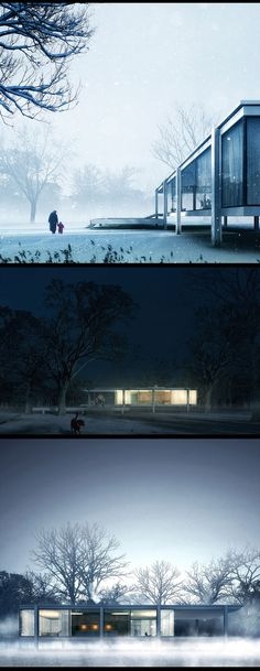 """Pro of the week from Christopher Malheiros """"A little exercise for Farnsworth house with a winter and coldy mood."""" - Home Decorating DIY Architecture Graphics, Architecture Drawings, Amazing Architecture, Modern Architecture, Architecture Panel, 3d Architectural Visualization, Architecture Visualization, 3d Visualization, Cgi"""