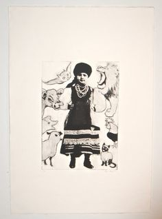 photo plate etching peasant girl by AlisaAlig on Etsy, $35.00