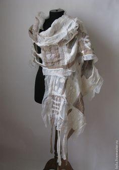 """Купить палантин """"North wind"""" - белый, абстрактный, палантин, палантин валяный, палантин ручной работы"""
