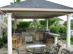 backyard outdoor kitchen desgin | This covered outdoor kitchen is a poolside addition and has a seated ...