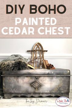 Do you have a cedar chest that you'd like to refurbish? Chalk Mineral Paint is an easy-to-use furniture paint! This boho blanket box was painted in the colors Hurricane Gray, Tea Rose, Coffee Bean, and more by Dixie Belle Paint!