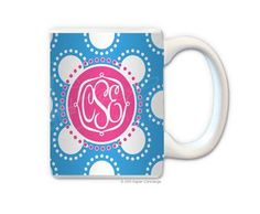 White/Turquoise Spinning Dots Personalized Coffee Mug from Paper Concierge