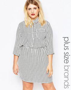 Image 1 ofBoohoo Plus Checked Waisted Shirt Dress
