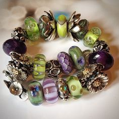 The lime and purple are wonderful together, and some great beads on this bracelet. By Deborah Taylor