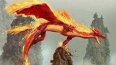 炎をまとった空飛ぶドラゴンの壁紙画像