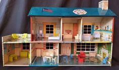 Vintage MARX tin litho 1950s 2-story dollhouse, 29 original MARX furniture pcs #Marx