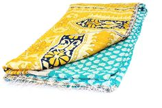 Old Cotton Kantha Bedspread/Twin Beach Kantha Quilt Hand Stitch Kantha Gudari/Cotton Blanket TWIN 22