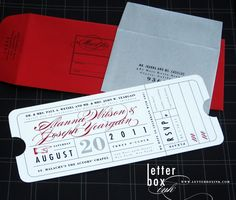 Vintage Ticket  Wedding Invitation by LetterBoxInk on Etsy, $4.50...How creative is THAT!!!! Love it :D
