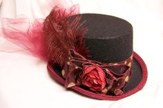 Your place to buy and sell all things handmade Steampunk Hat, Victorian Steampunk, Gold Hats, Black Top Hat, Riding Hats, Burgundy And Gold, Ostrich Feathers, Gold Glitter, Wearable Art