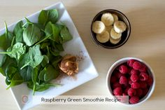 Raspberry Green Smoothie Recipe | @Christine Ballisty McCarthy <=Add a full banana or use greek yogurt in place of the banana; and use frozen fruit to make it extra kid friendly!